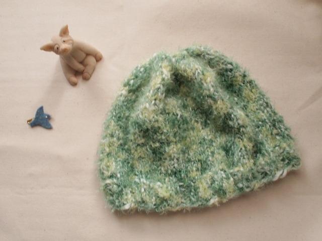 ふわふわニット帽【グリーン系】