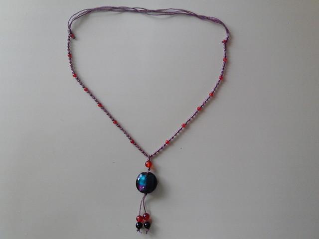ベネチアンガラスと天然石のネックレス