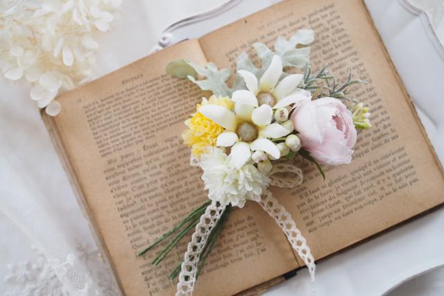 エーデルワイスの花束コサージュ*002*