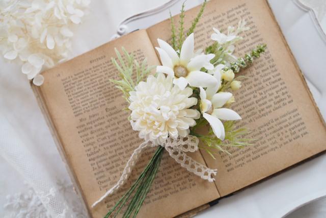 エーデルワイスの花束コサージュ*001*