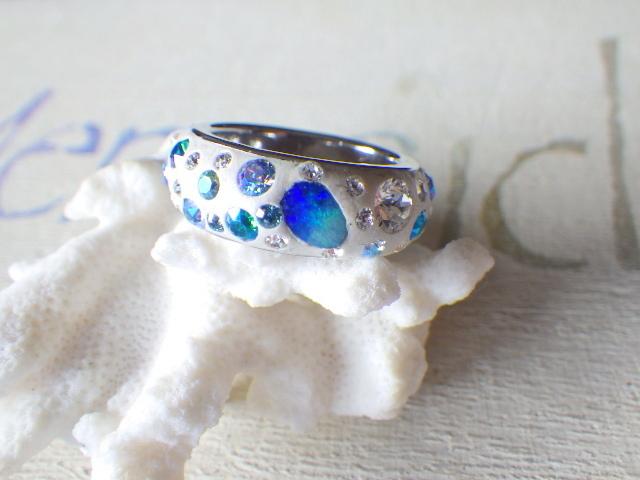 Gland Blue Opal Ring オパールとスワロ...