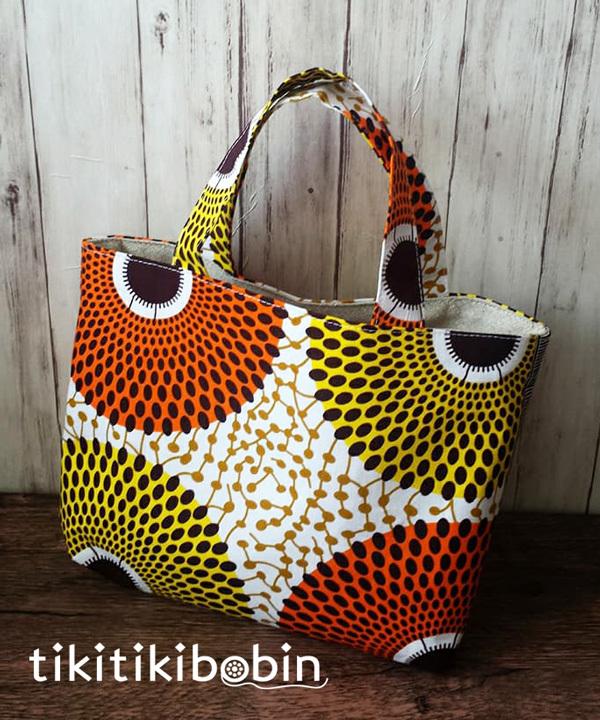黄とオレンジのアフリカ布のミニトート...