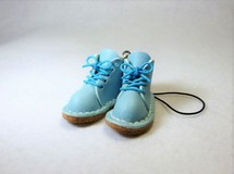 ミニチュア靴のストラップ/ショートブーツ/水色