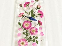 ?幸せの青い鳥&ミニバラ?押し花 iPhone7.8 ケース
