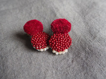 Red Embroidery Earrings