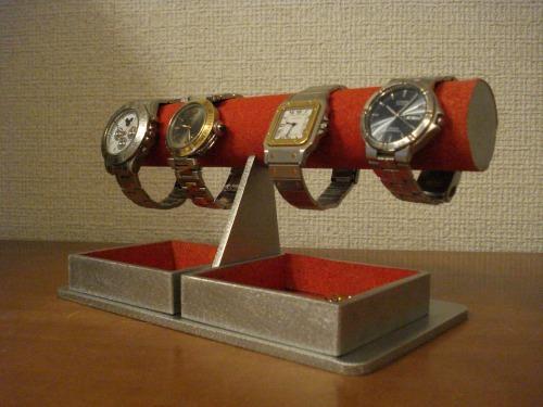腕時計スタンド レッドダブルでかいトレイ丸パイプウォッチスタンド