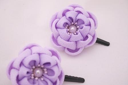 つまみ細工 薄紫 重ね 2個セット