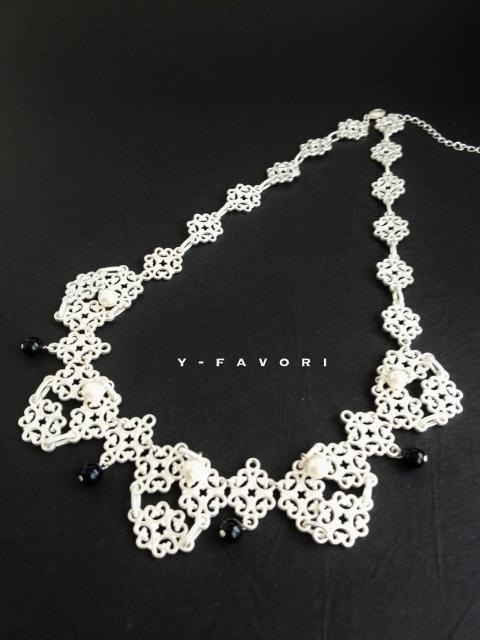 matte silver&パール*design necklace