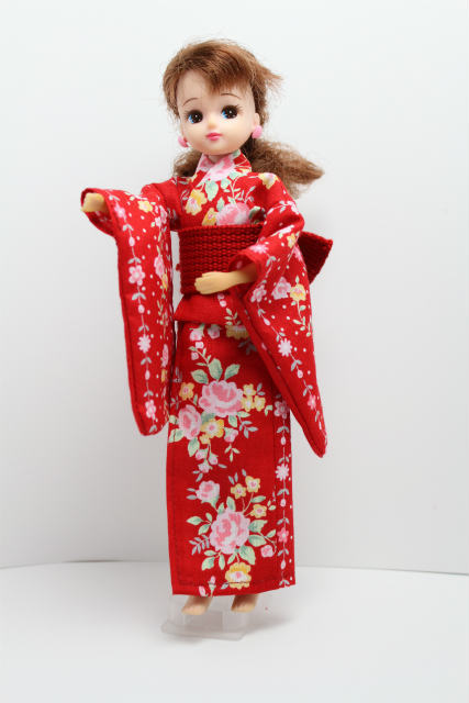 リカちゃんの浴衣 赤地に花柄×赤帯セット