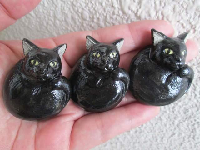 黒猫の箸置き(3個セット)
