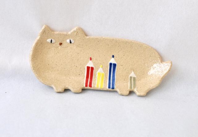 [新作] 猫の長ザラ【色鉛筆】 小皿