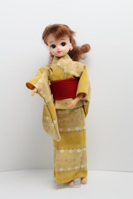 リカちゃんの浴衣 黄色地に白い小花×赤帯セット