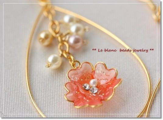フラワーフープピアス(pink&orange)