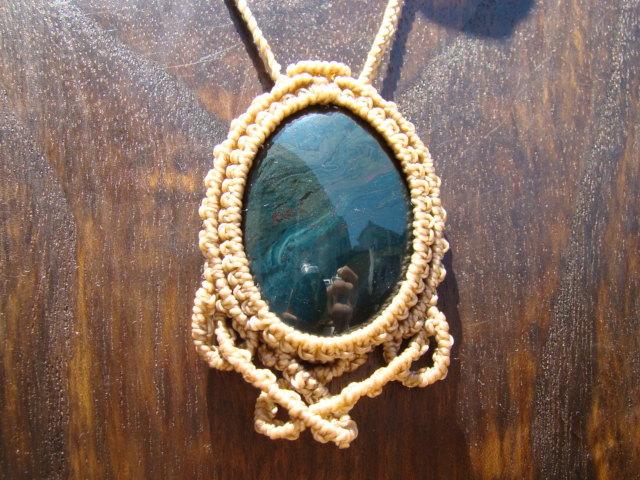 天然石 モスアゲートのマクラメ編みネックレス