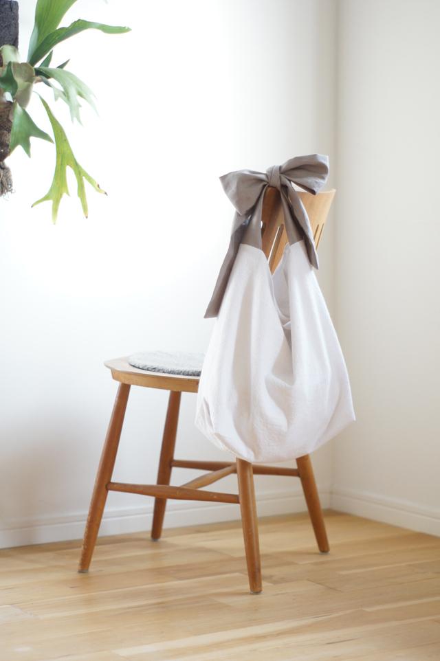 綿麻リボンのバッグ(グレージュ)