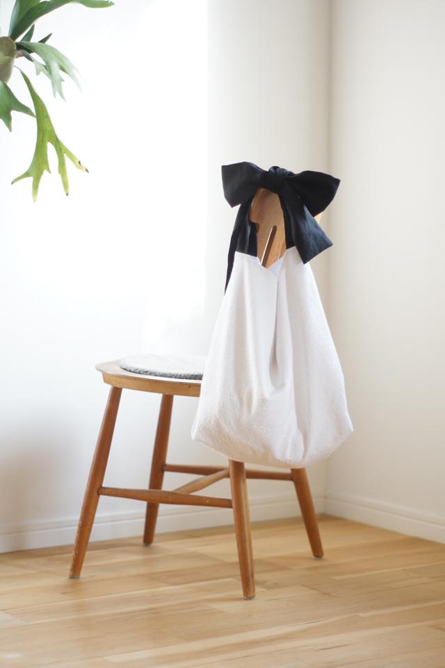 綿麻リボンのバッグ(ブラック)