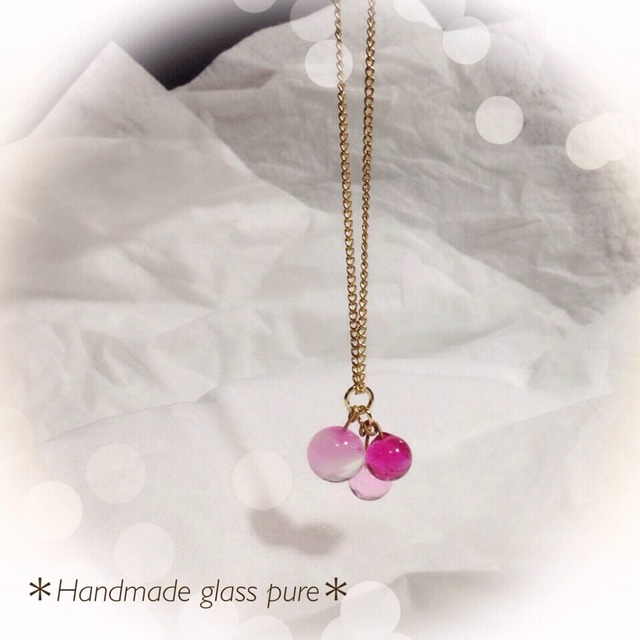 R-74 *ガラスの実のネックレス*ピンク