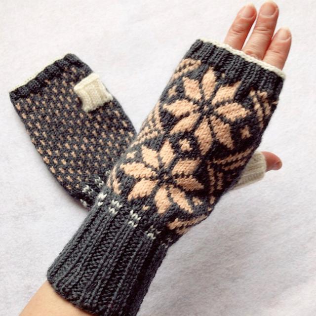 【送料無料】指なし手袋 7 (濃グレー...
