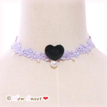 【HowSweet*】Heart Lace Choker*[lavender]