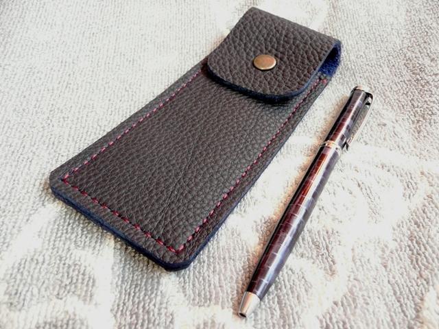 【受注制作】トリヨンの手縫いペンケース(ブルーブラック)