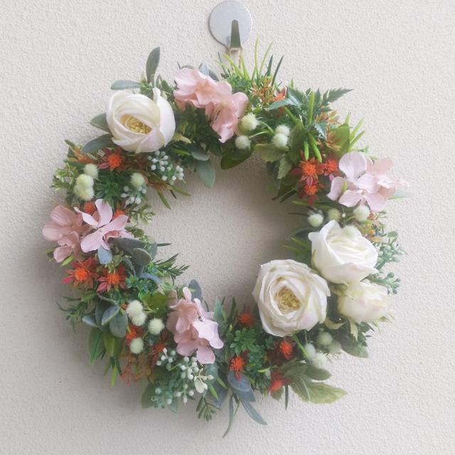 白バラ*春色のリース