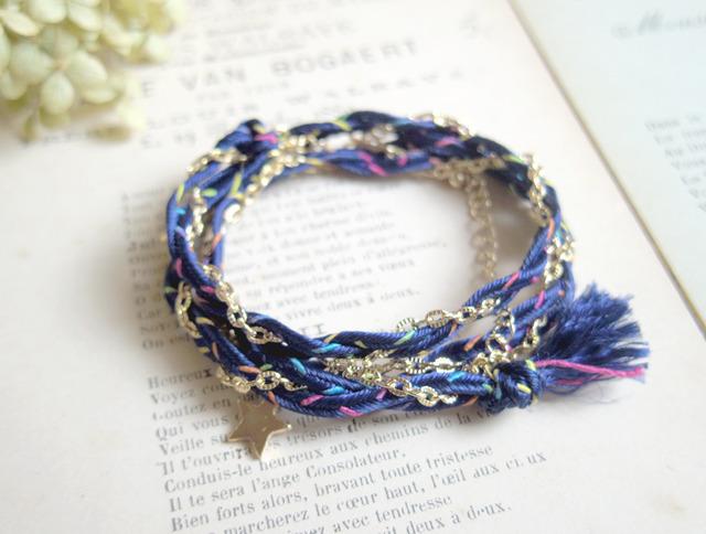 2WAYチェーンと紐と星のブレス&ネックレス(紺)