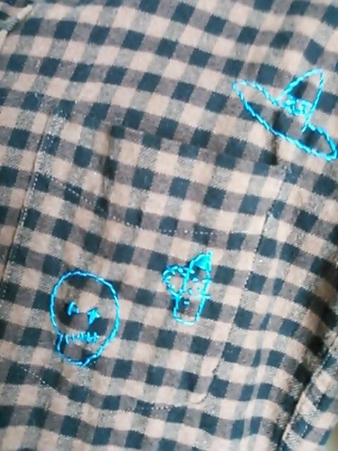 Men's おとぼけドクロのリメイクシャツ