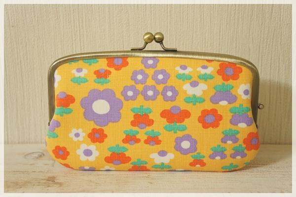 ☆ヴィンテージ生地の親子がま口長財布/オレンジの花☆