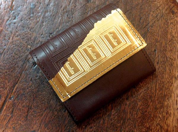 ※ビターチョコ 革のチョコレート・コインケース(金の包み紙)