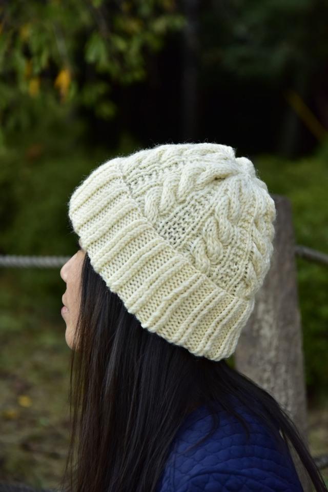 ★第二弾★アラン編みニット帽子(ホワイト)