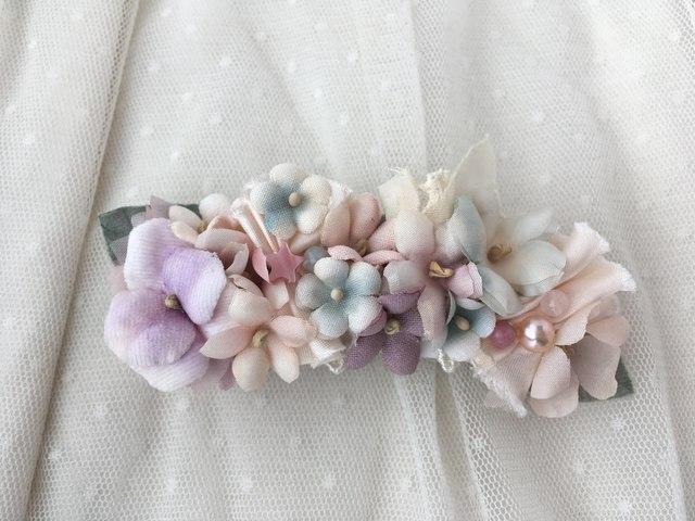 天然石とお花のプリンセスバレッタ
