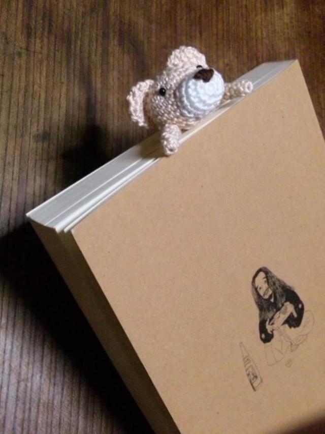ミニミニベア編みぐるみ しがみつきブックマーク