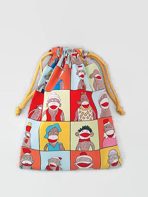 【送料無料】リバーシブル ソックモンキー&バナナ 巾着袋(Mサイズ)