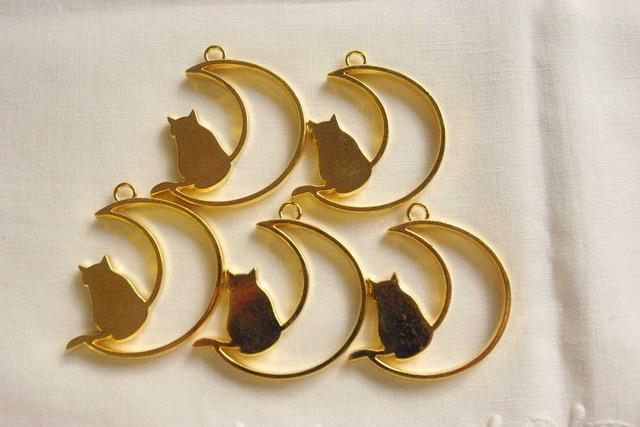 5個入り ゴールド 猫と月のセッティング枠セット B25