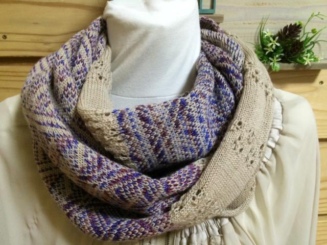 春までできる 透かし編み&編み込みスヌード すみれ色ミックス