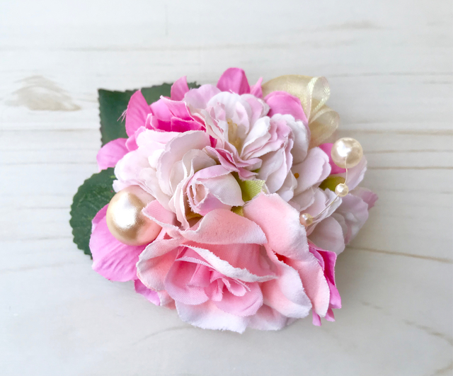 桜とピンクローズのコサージュ・髪飾り
