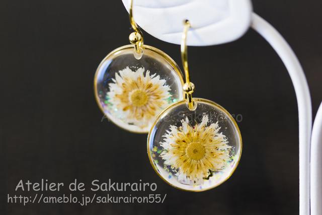 お花のピアス(雪)