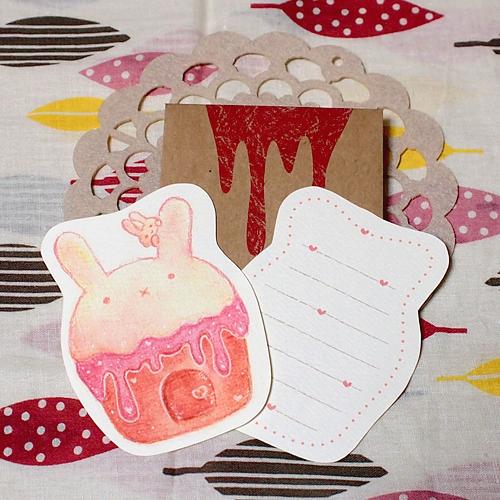 カップケーキのメッセージカード<うさぎ>