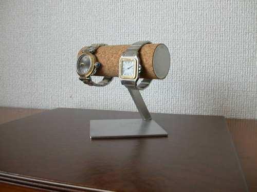 腕時計ケース!2本掛け菱形台座腕時計スタンド