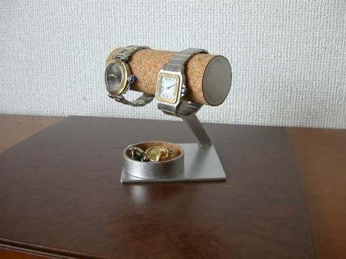 腕時計、アクセサリー収納!2本掛け丸トレイ菱台座腕時計スタンド