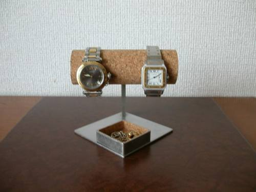 アクセサリーボックス!2本掛け菱台座菱トレイ腕時計スタンド