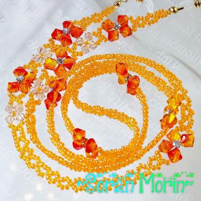 ■空森■グラスコード スワロフスキーのお花づくし(オレンジ)