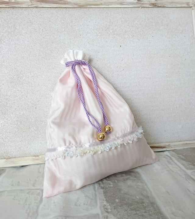 ファンシーPINKストライプ巾着袋?