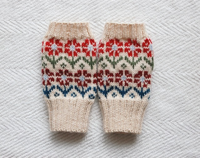 手編みの指なしミトン 【ウィンターガーデン】