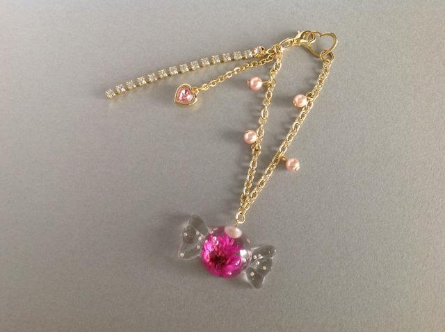 ピンクの花キャンディー☆バックチャーム