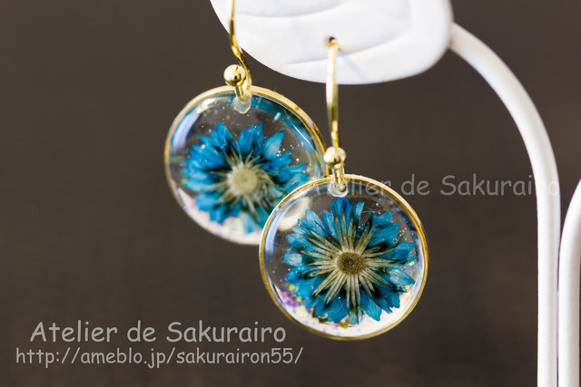 お花のピアス(藍)