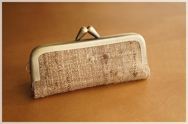 ■手紡ぎ、手織りシルク・リネンのがま...