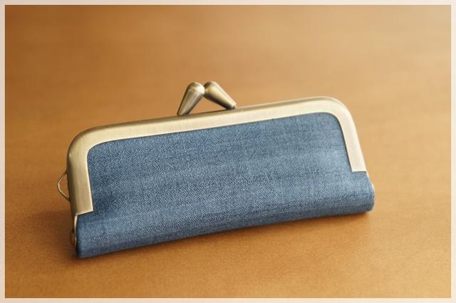 ■手紡ぎ、手織りシルクのがま口印鑑ケ...