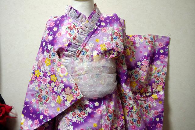 桜の浴衣ドレス 紫