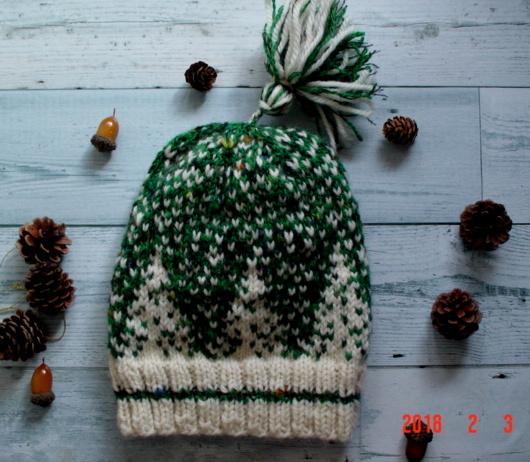 ☆彡北欧柄編み込み粉雪の森ニット帽